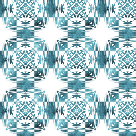 Geo Floral Teal Design, S fabric by animotaxis on Spoonflower - custom fabric