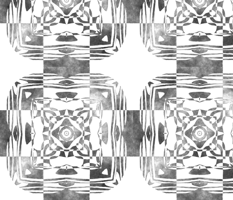 Geo Floral Black Design, M fabric by animotaxis on Spoonflower - custom fabric