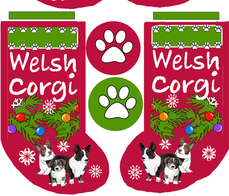 Cardigan Corgi Christmas Cut and Sew Stocking fabric by dogdaze_ on Spoonflower - custom fabric