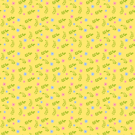 Joys of Spring (yellow) fabric by raccoons_rags on Spoonflower - custom fabric