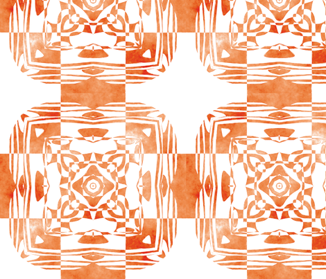 Geo Floral Orange Design, M fabric by animotaxis on Spoonflower - custom fabric