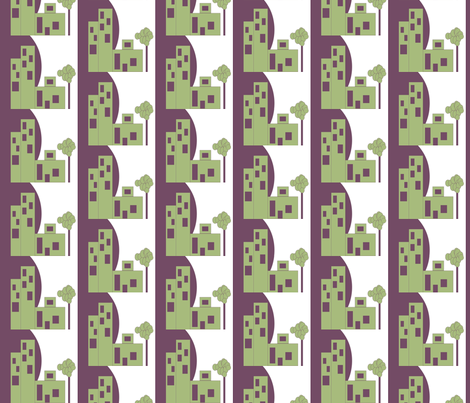 Eggplant Moon Rising fabric by anniedeb on Spoonflower - custom fabric
