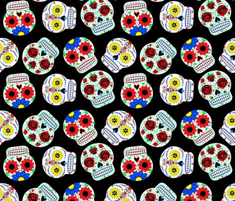 Day of the Dead - Black fabric by happyhappymeowmeow on Spoonflower - custom fabric