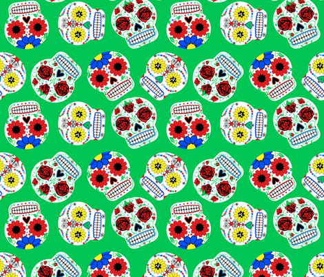 Day of the Dead - Green fabric by happyhappymeowmeow on Spoonflower - custom fabric