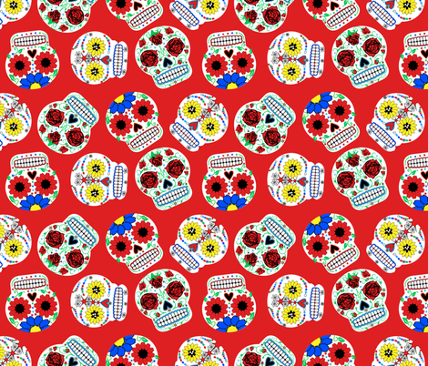 Day of the Dead - Red fabric by happyhappymeowmeow on Spoonflower - custom fabric