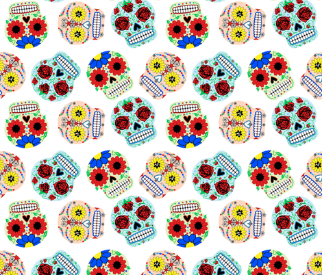 Day of the Dead - White fabric by happyhappymeowmeow on Spoonflower - custom fabric