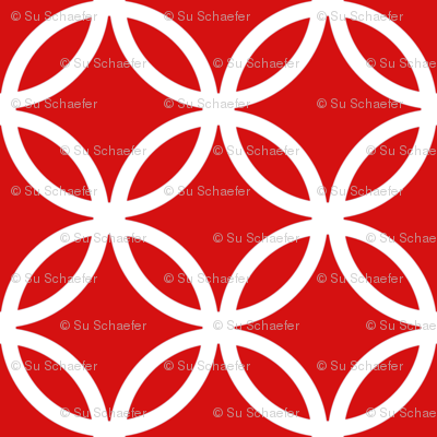 Chinese fretwork, circles, white on red by Su_G