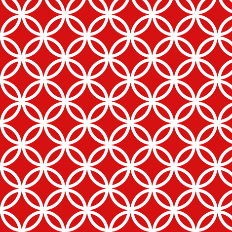 Chinese fretwork, circles, white on red by Su_G fabric by su_g on Spoonflower - custom fabric