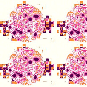 Pop Flowers Magenta Tangerine Mulberry White