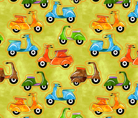 I'm Mad About Mod Scooters and Sidecars fabric by vo_aka_virginiao on Spoonflower - custom fabric