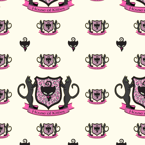 House of Kitties with Cream fabric by lovekittypink on Spoonflower - custom fabric