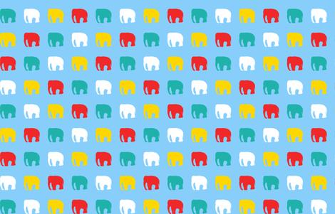 Multicoloured elephants on blue fabric by pininkie on Spoonflower - custom fabric
