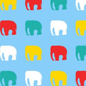 Multicoloured elephants on blue