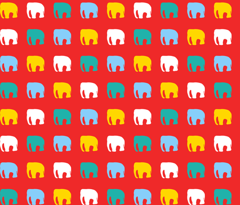 Multicoloured elephants on red fabric by pininkie on Spoonflower - custom fabric