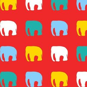 Multicoloured elephants on red