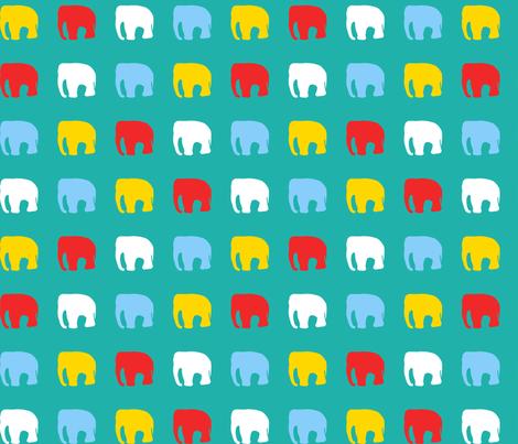 Multicoloured elephants on teal fabric by pininkie on Spoonflower - custom fabric