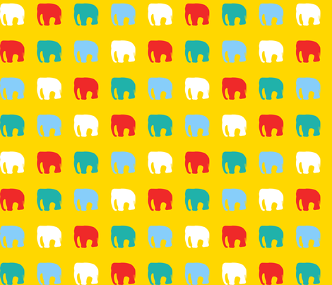 Multicoloured elephants on yellow fabric by pininkie on Spoonflower - custom fabric