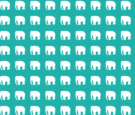 Elephants on teal fabric by pininkie on Spoonflower - custom fabric