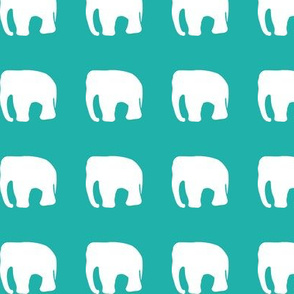 Elephants on teal
