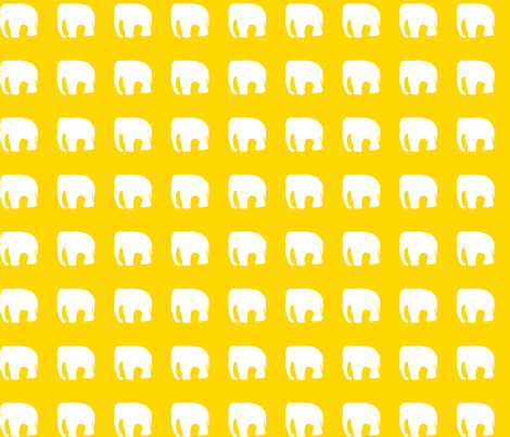 elephants on yellow fabric by pininkie on Spoonflower - custom fabric