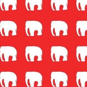 Elephants on red