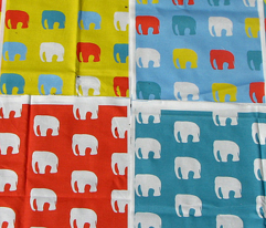 Elephants on blue