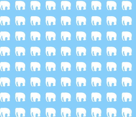 Elephants on blue fabric by pininkie on Spoonflower - custom fabric