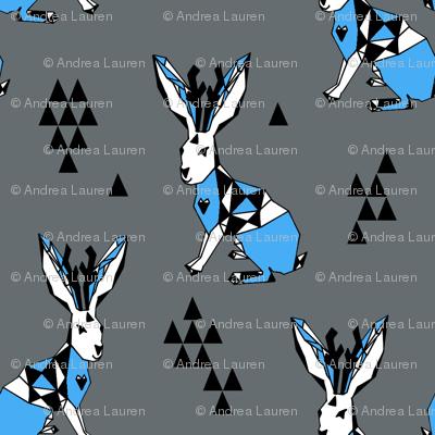 Geometric Jackalope // blue and grey jackalopes