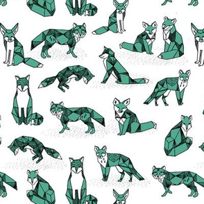 foxes // green small size fox geometric hand-drawn illustration for kids prints