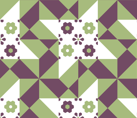 12_inch_pinwheel_in_the_wind_green_and_grape_2_crop_center fabric by khowardquilts on Spoonflower - custom fabric