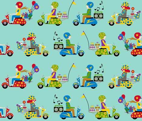 Scooter Party! fabric by stitchwerxdesigns on Spoonflower - custom fabric