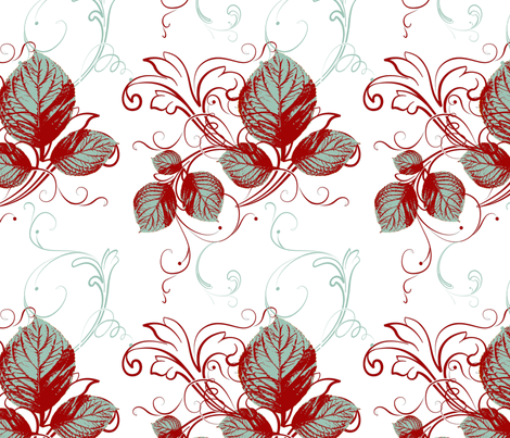 Autumn in Teal with Antique  Red Flat fabric by cksstudio80 on Spoonflower - custom fabric