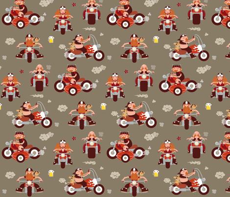 Me and my bikers fabric by verycherry on Spoonflower - custom fabric