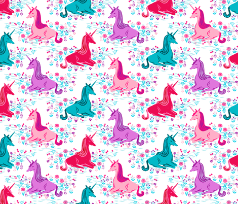unicorns // bright pink purple aqua turquoise girls sweet unicorns fabric by andrea_lauren on Spoonflower - custom fabric
