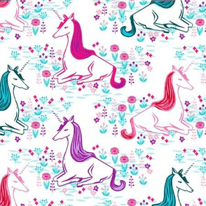 unicorn // bright pink turquoise purple cute girls unicorn design