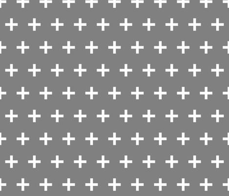 swiss cross // grey plus simple cross plus sign fabric by andrea_lauren on Spoonflower - custom fabric