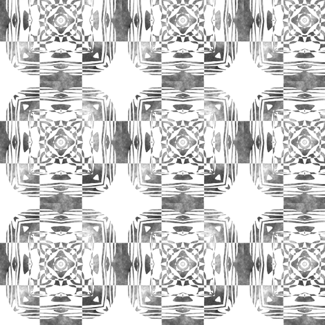 Geo Floral Black Design, S fabric by animotaxis on Spoonflower - custom fabric