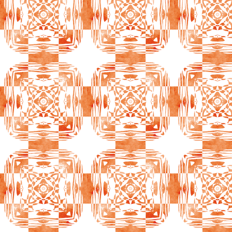 Geo Floral Orange Design, S fabric by animotaxis on Spoonflower - custom fabric