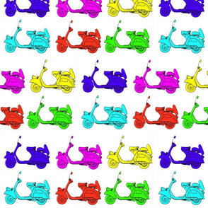 6 coloured scooters