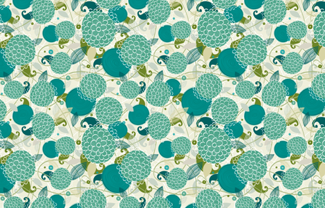 Mums in Blue fabric by friztin on Spoonflower - custom fabric