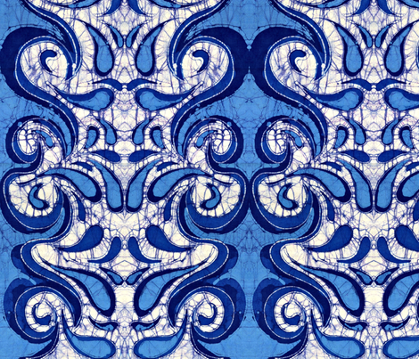 blue waves fabric by hooeybatiks on Spoonflower - custom fabric