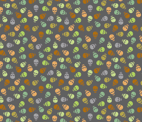 Happy skull - scattered small fabric by uzumakijo on Spoonflower - custom fabric