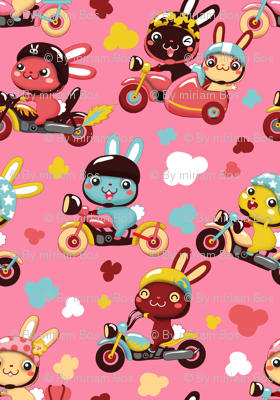 Funny Bunny Bikers for girls | Pink