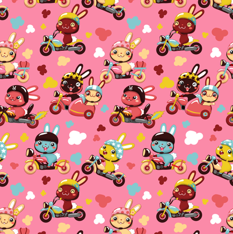 Funny Bunny Bikers for girls | Pink fabric by irrimiri on Spoonflower - custom fabric