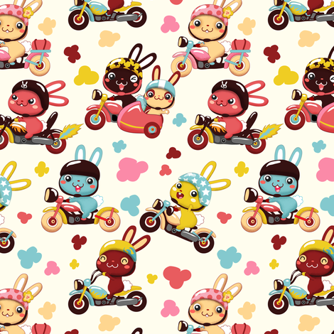 Funny Bunny Bikers for girls | White fabric by irrimiri on Spoonflower - custom fabric