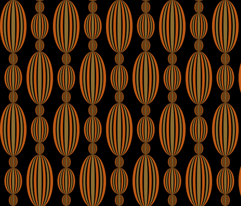 Baroque Beads in copper and brass on black fabric by glanoramay on Spoonflower - custom fabric