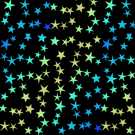 Gold Blue Green Stars fabric by animotaxis on Spoonflower - custom fabric