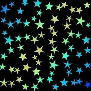 Gold Blue Green Stars