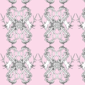 Stag Hunting Rococo Pattern