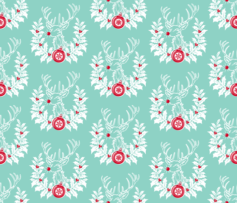 Rudolph Crest ~ Blue fabric by retrorudolphs on Spoonflower - custom fabric